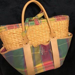 Ralph Lauren Plaid Basket/Wicker Bag